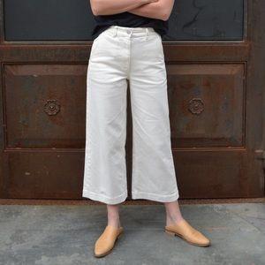Everlane Wide Leg White Cropped Pants